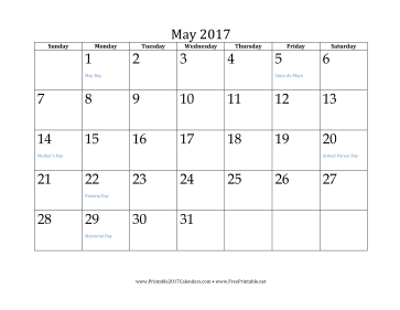 printable may 2017 calendar may 2017 is laid out horizontally in this ...