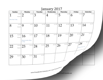 2017 Calendar with day-of-year and days-remaining-in-year Calendar