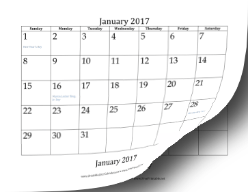 2017 Bottom Month Calendar