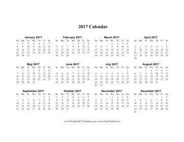 printable 2017 calendar on one page horizontal the months progress ...