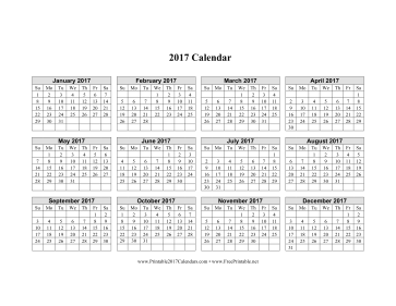 2017 Calendar on one page (horizontal grid) Calendar