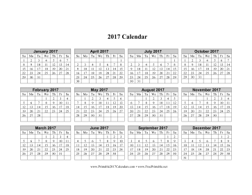 Printable 2017 Calendar (horizontal grid descending)