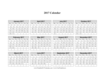 Printable 2017 Calendar on one page (horizontal week starts on Monday)