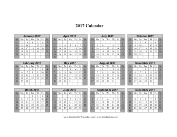 2017 Calendar on one page (horizontal shaded weekends) Calendar