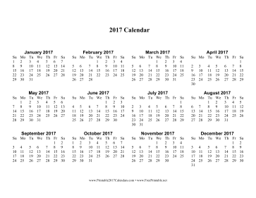 2017 Calendar one page with Large Print Calendar