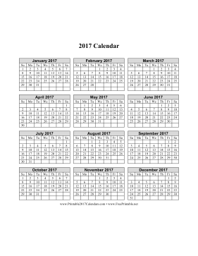 2017 Calendar on one page (vertical grid) Calendar