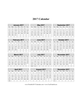 Printable 2017 Calendar (vertical grid)