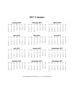 2017 Calendar on one page (vertical holidays in red) Calendar