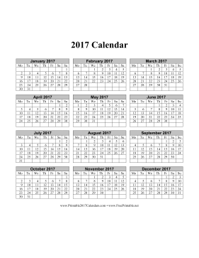 2017 Calendar on one page (vertical months run across page week starts on Monday) Calendar