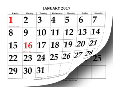Printable 2017 Calendar with Large Print