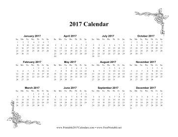 Printable 2017 One Page Calendar With Flowers
