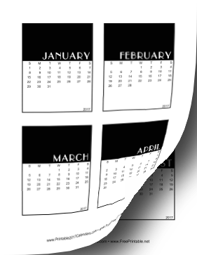 2017 Vertical Scrapbook Calendar Cards Calendar