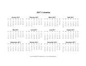 2017 Calendar on one page (horizontal holidays in red) calendar
