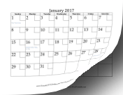 2017 Calendar with Checkboxes calendar